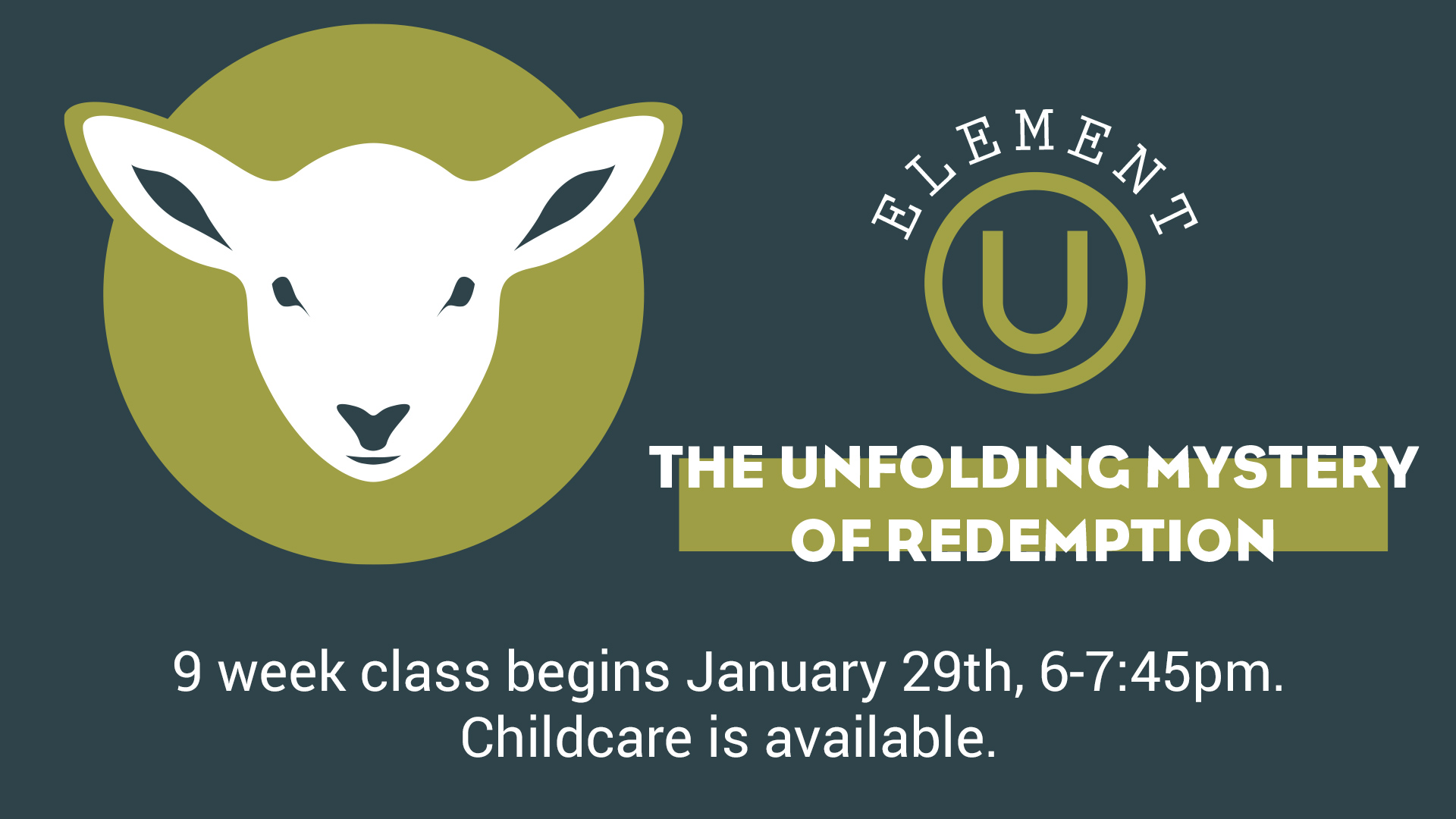 Element U: The Unfolding Mystery of Redemption: God's Gracious Plan to Redeem the Human Race.
