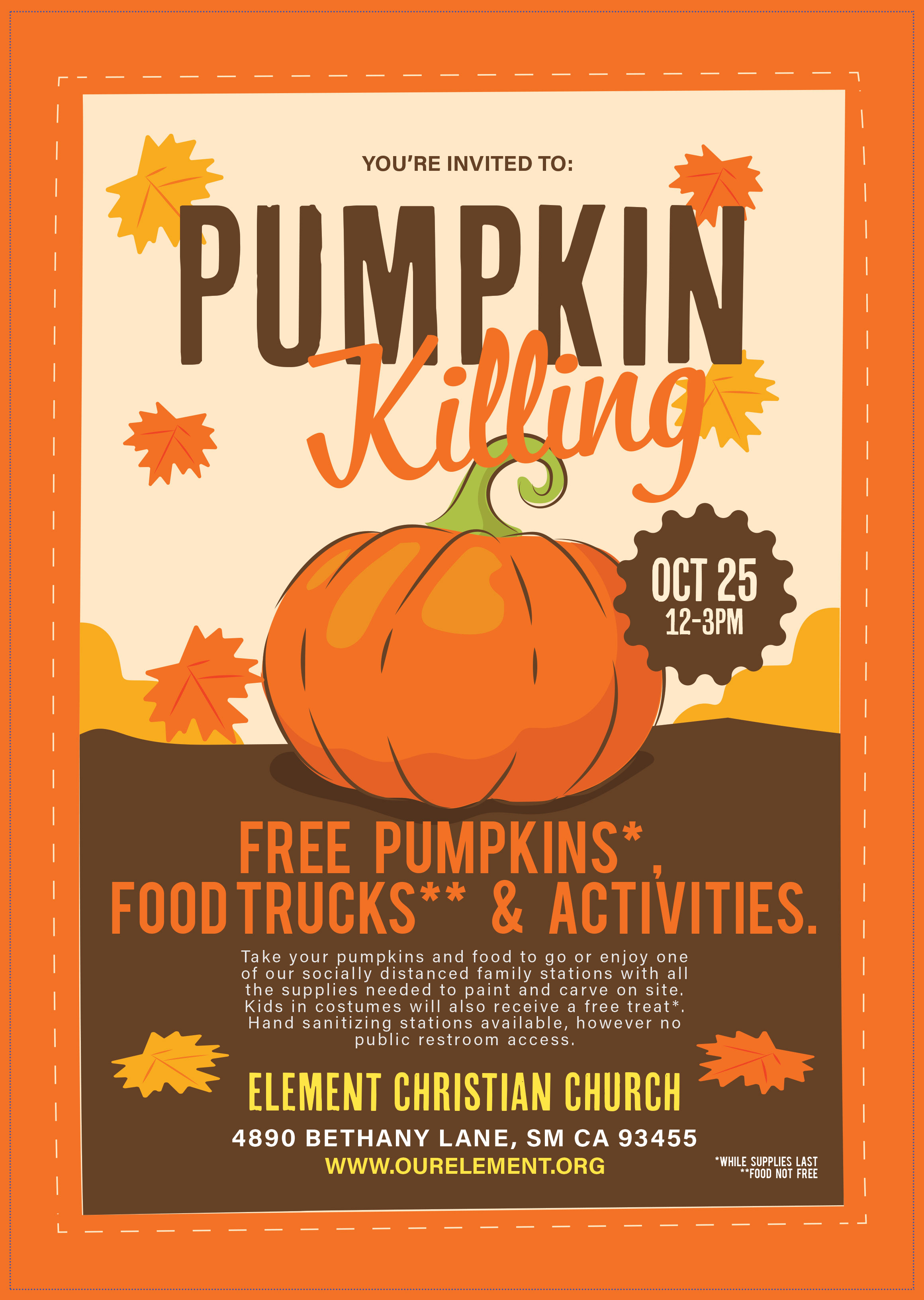 You're invited to Element's Pumpkin Killing October 25th from 12-3pm at Element, 4890 Bethany Lane.